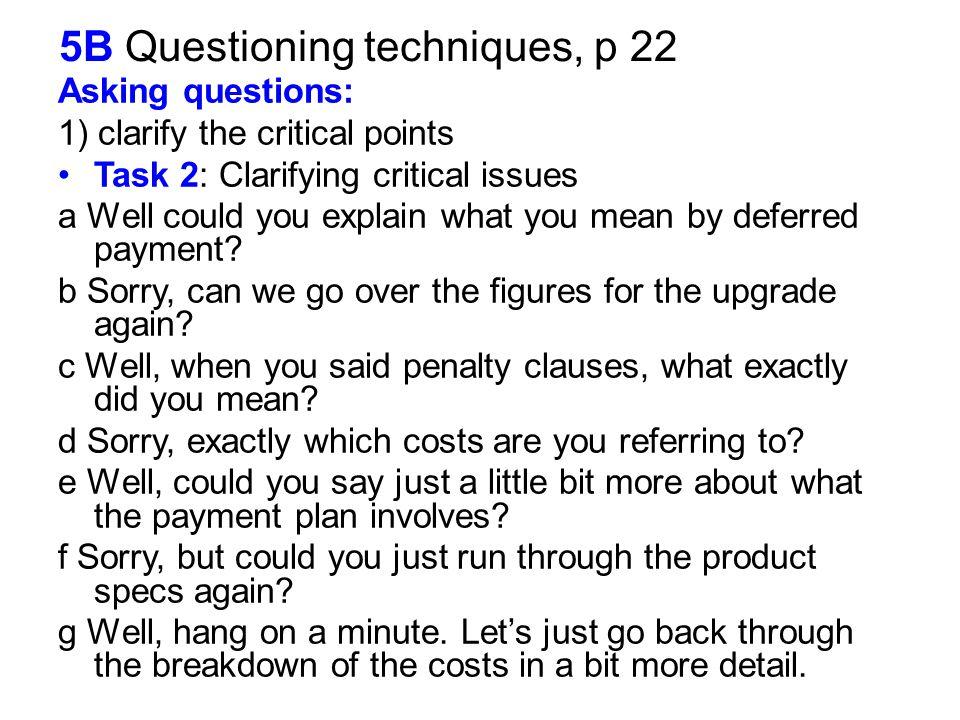 5B Questioning techniques, p 22