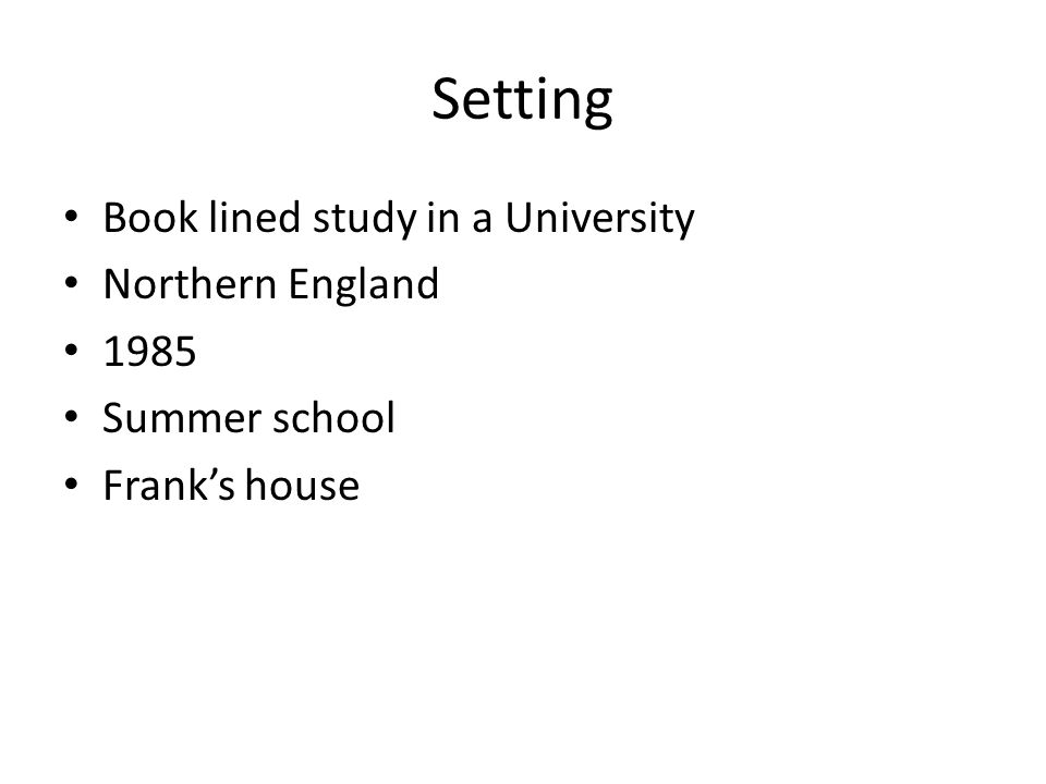 Setting Book lined study in a University Northern England 1985
