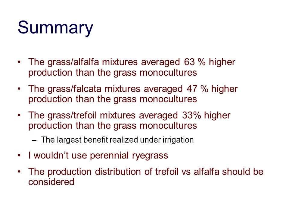 Summary The grass/alfalfa mixtures averaged 63 % higher production than the grass monocultures.