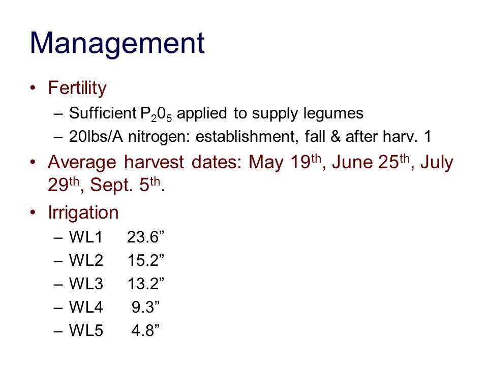 Management Fertility. Sufficient P205 applied to supply legumes. 20lbs/A nitrogen: establishment, fall & after harv. 1.