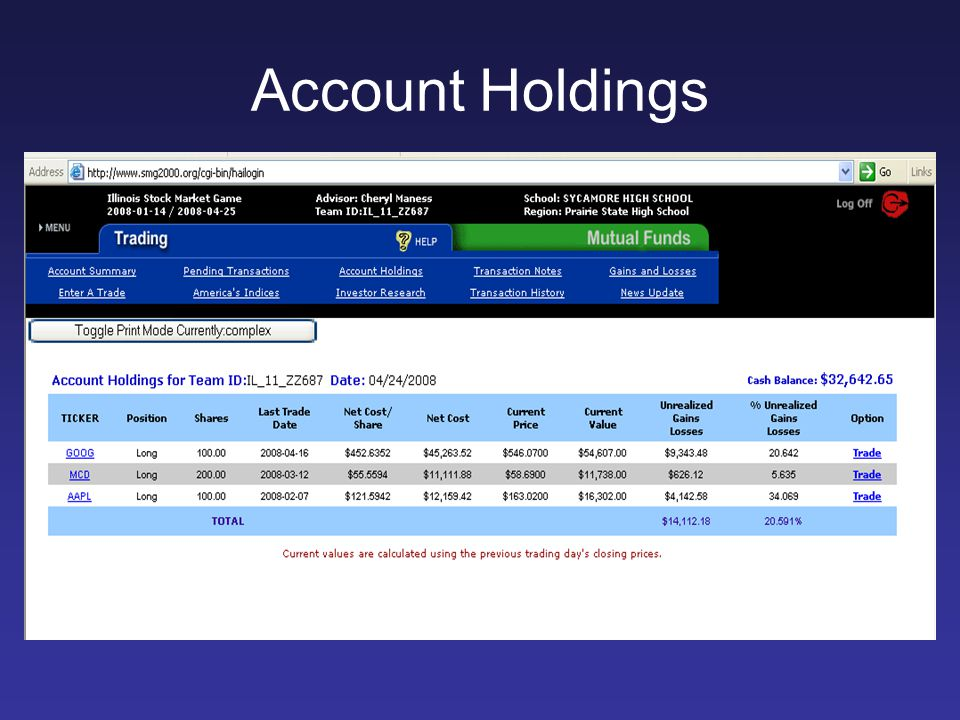 Account Holdings