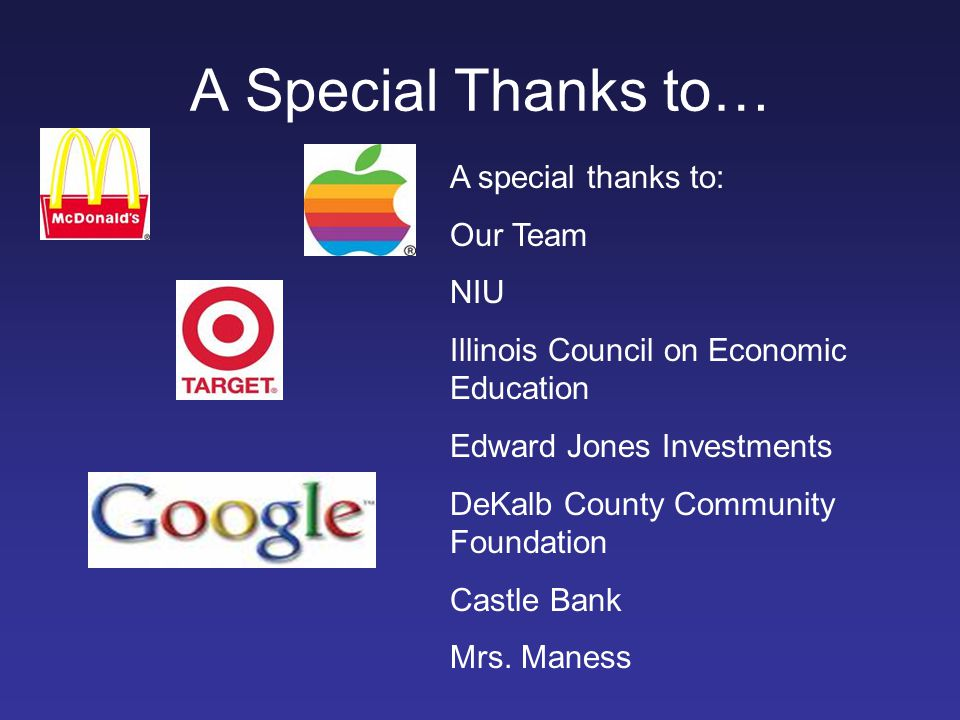 A Special Thanks to… A special thanks to: Our Team NIU