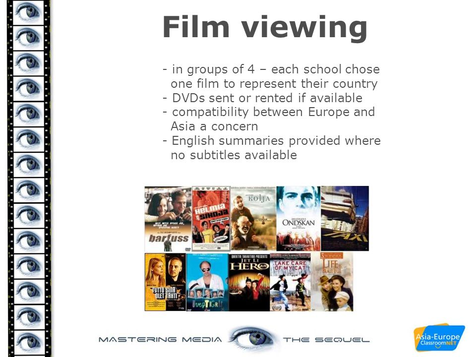 Film viewing - in groups of 4 – each school chose