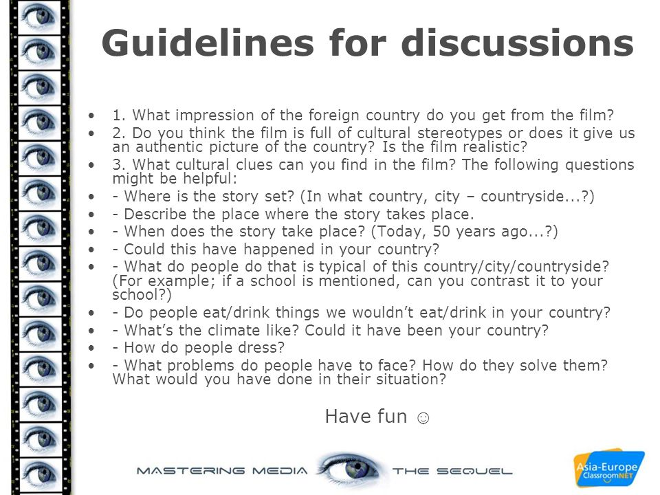 Guidelines for discussions
