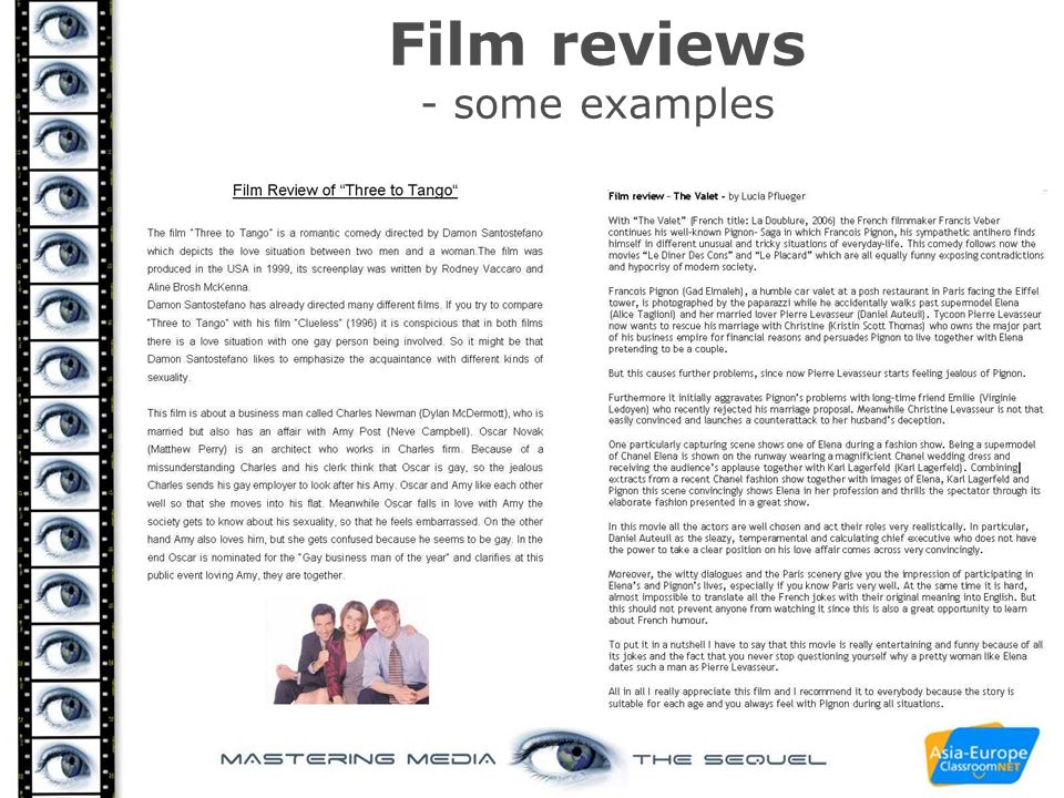 Film reviews - some examples