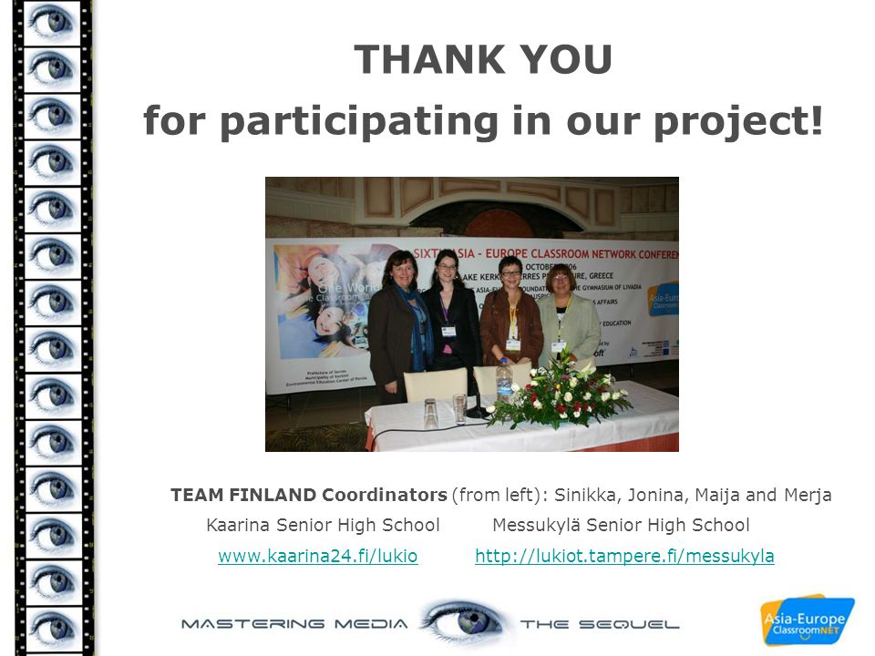 THANK YOU for participating in our project!