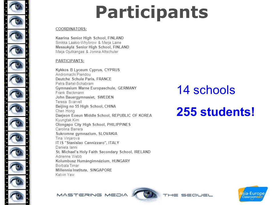 Participants 14 schools 255 students! COORDINATORS: