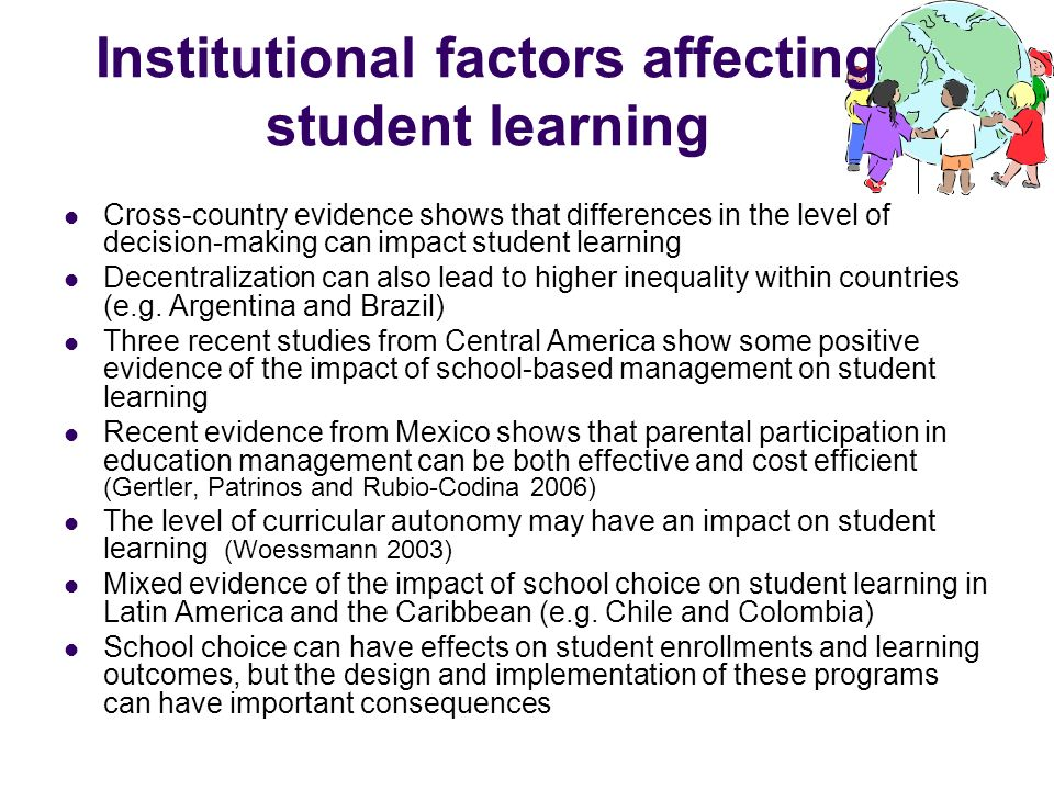 Institutional factors affecting student learning