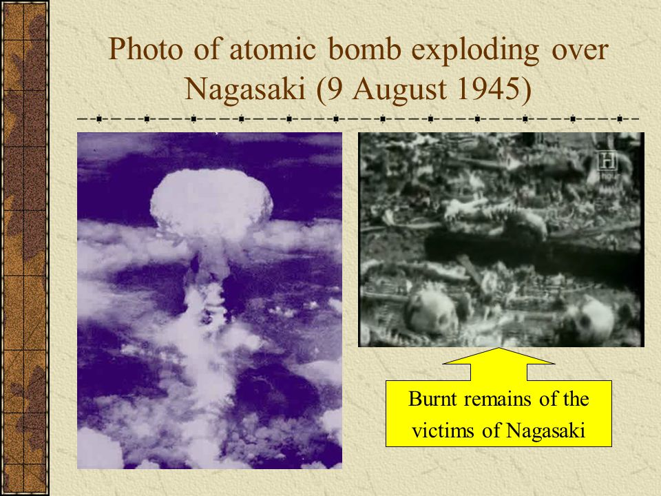 Photo of atomic bomb exploding over Nagasaki (9 August 1945)