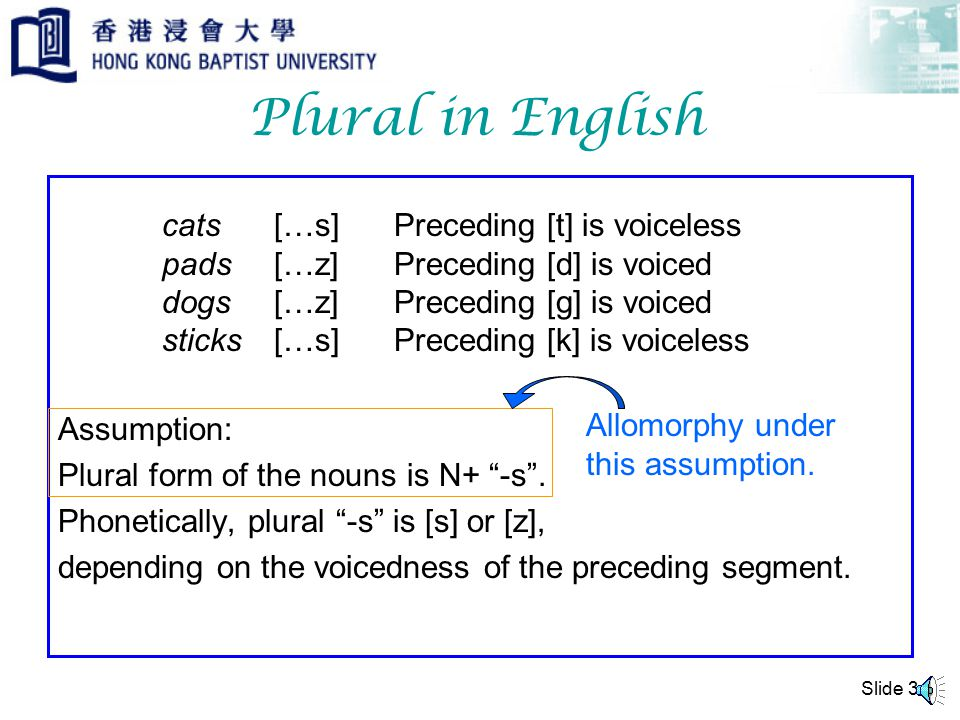 Plural in English Assumption: Plural form of the nouns is N+ -s .