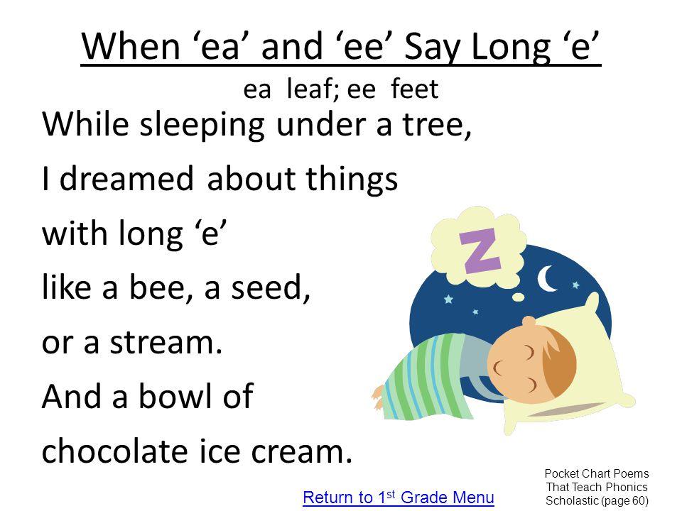 When 'ea' and 'ee' Say Long 'e' ea leaf; ee feet