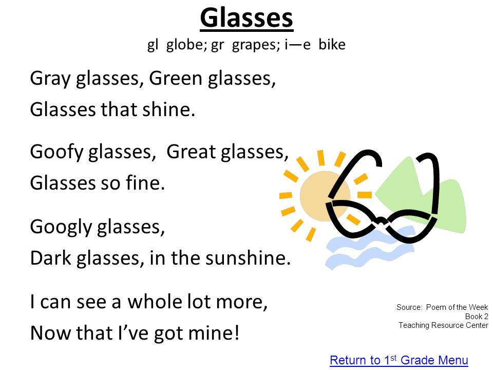 Glasses gl globe; gr grapes; i—e bike
