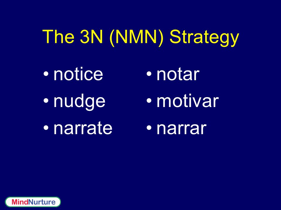 The 3N (NMN) Strategy notice nudge narrate notar motivar narrar