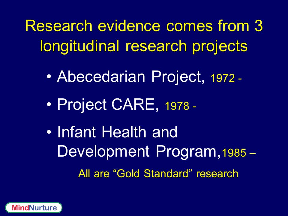 Research evidence comes from 3 longitudinal research projects