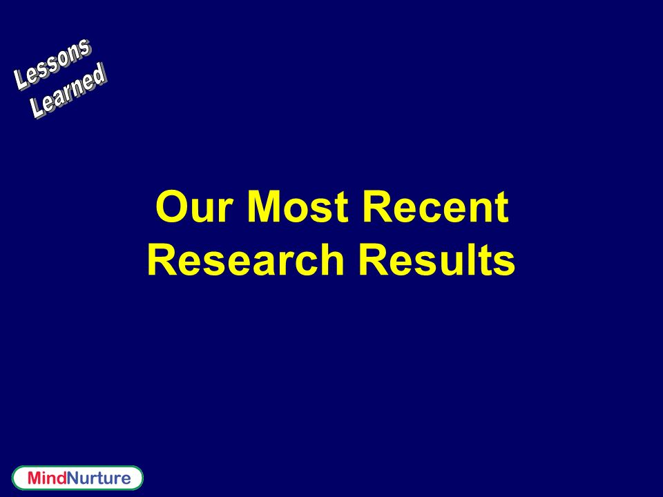 Our Most Recent Research Results
