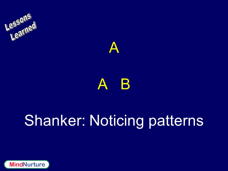 A A B Shanker: Noticing patterns