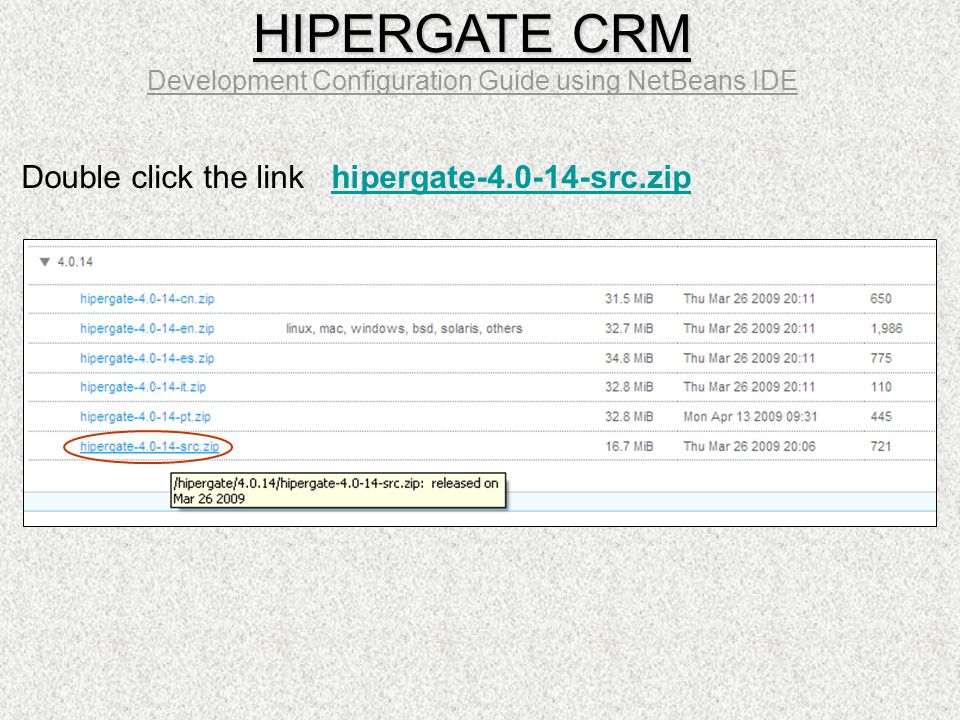 Double click the link hipergate-4.0-14-src.zip