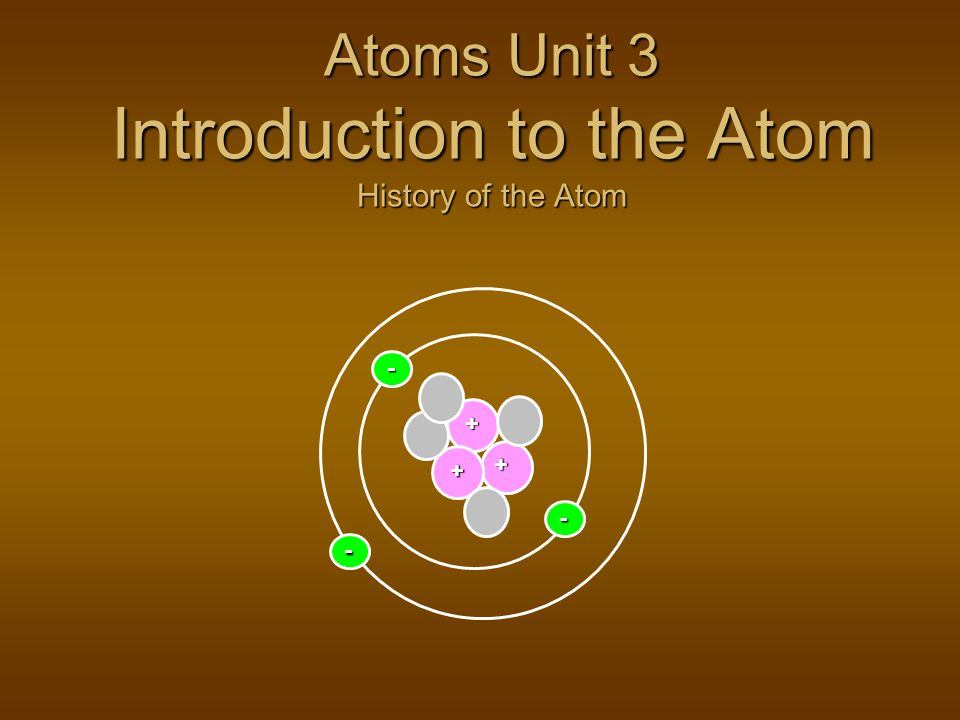 Atoms Unit 3 Introduction to the Atom History of the Atom