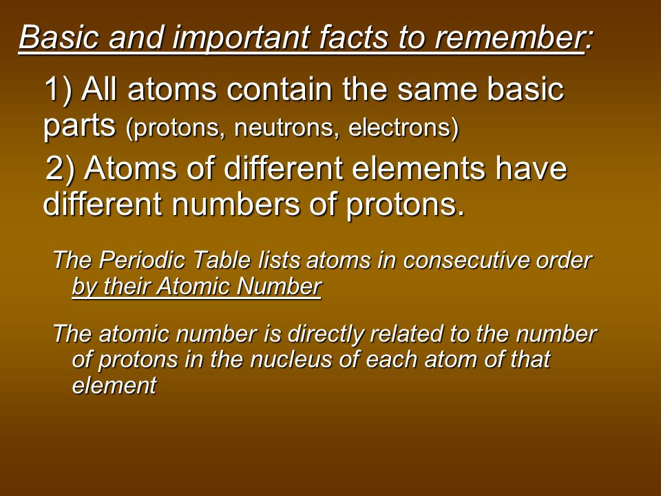2) Atoms of different elements have different numbers of protons.