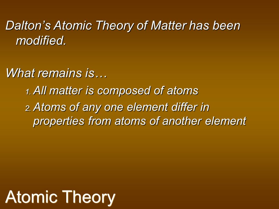 Atomic Theory Dalton's Atomic Theory of Matter has been modified.