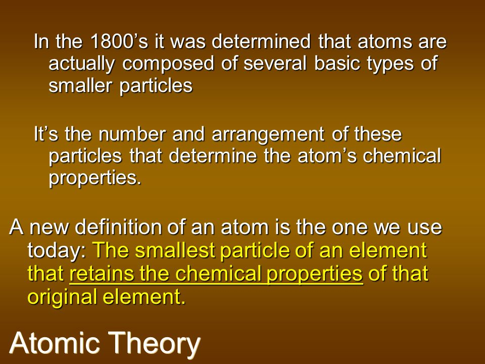 In the 1800's it was determined that atoms are actually composed of several basic types of smaller particles