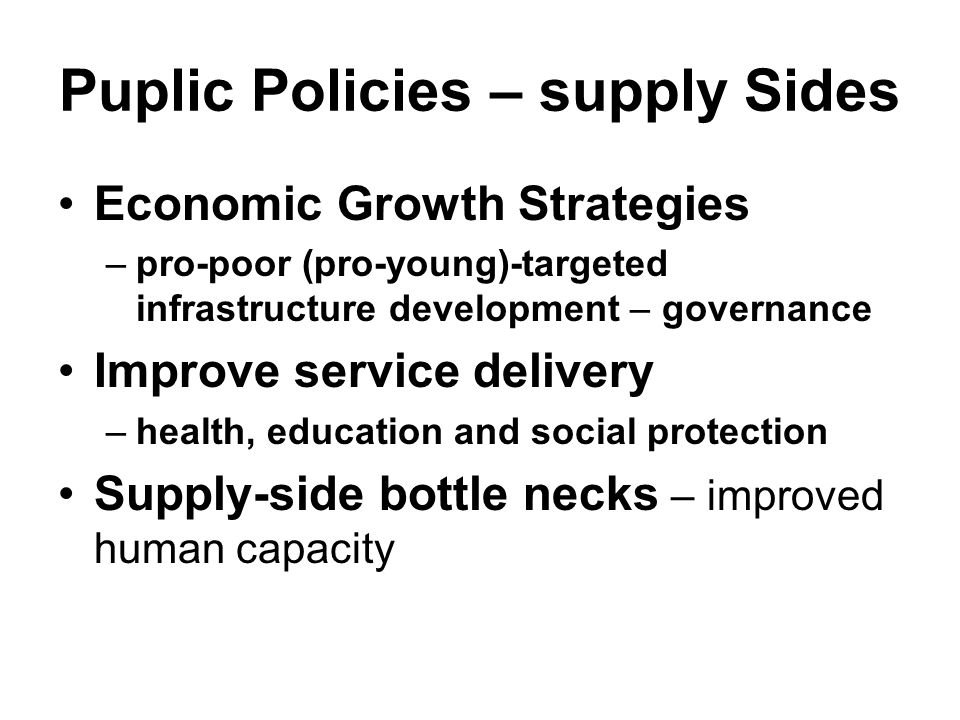 Puplic Policies – supply Sides