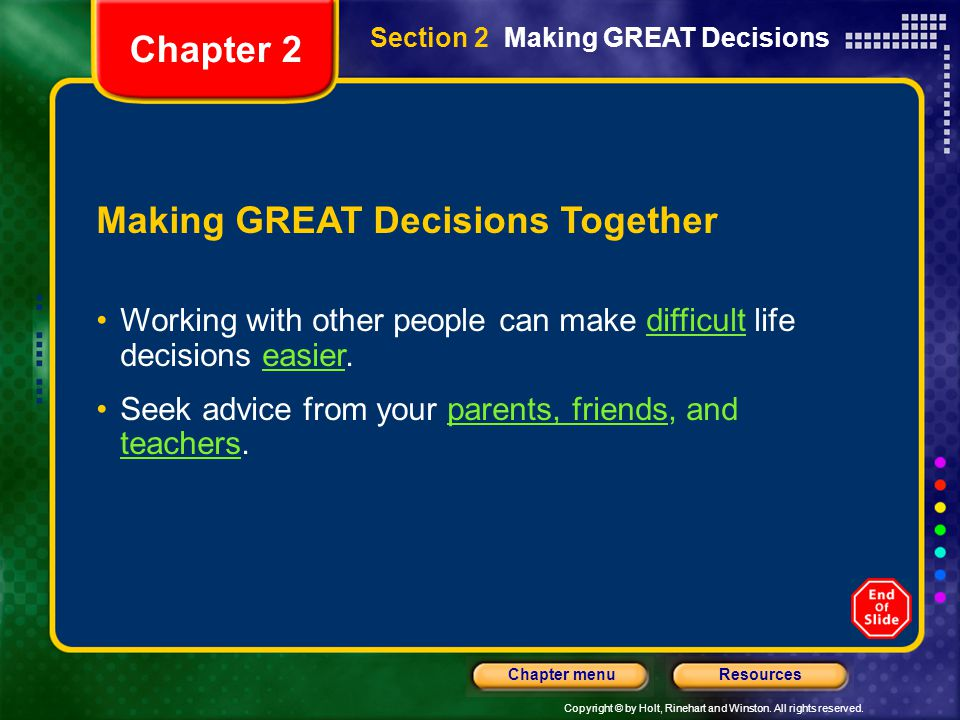Making GREAT Decisions Together