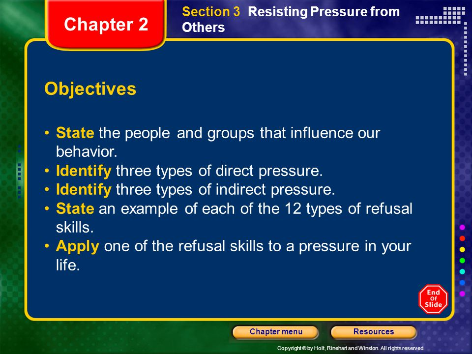 Section 3 Resisting Pressure from Others