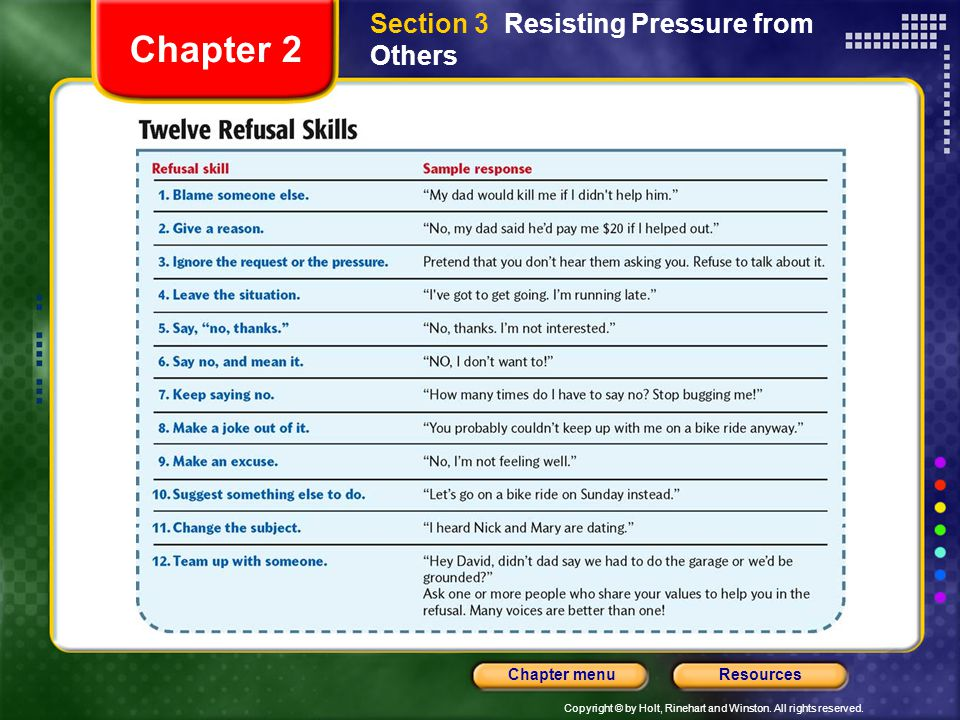 Chapter 2 Section 3 Resisting Pressure from Others