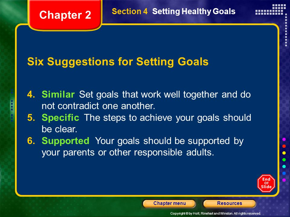 Six Suggestions for Setting Goals