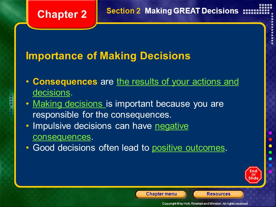 Importance of Making Decisions