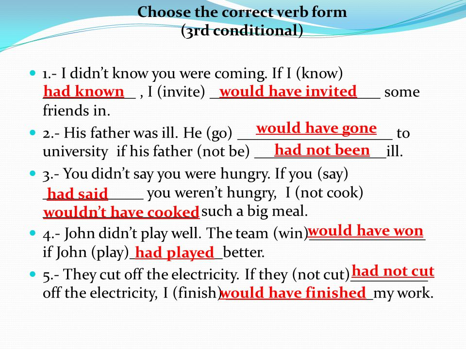 Choose the correct verb form (3rd conditional)
