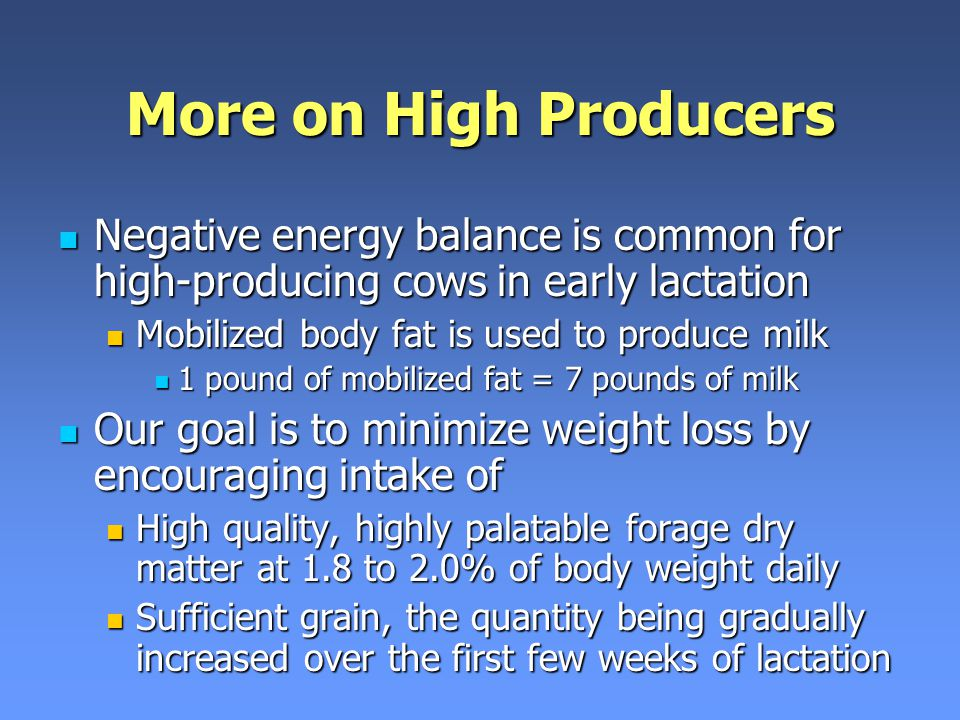 More on High Producers Negative energy balance is common for high-producing cows in early lactation.