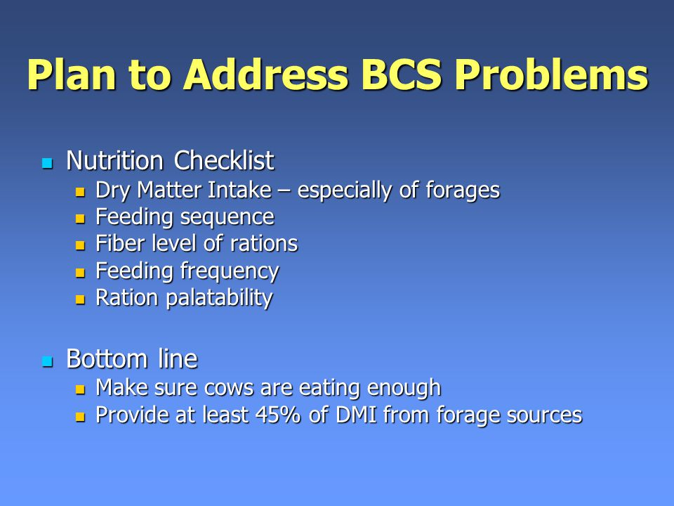Plan to Address BCS Problems