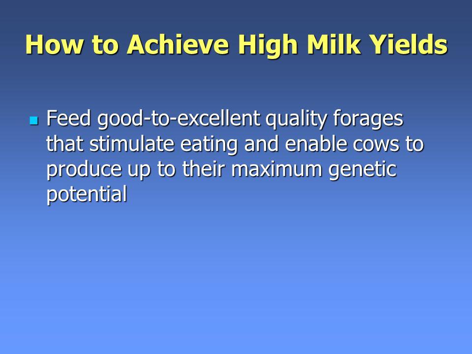 How to Achieve High Milk Yields