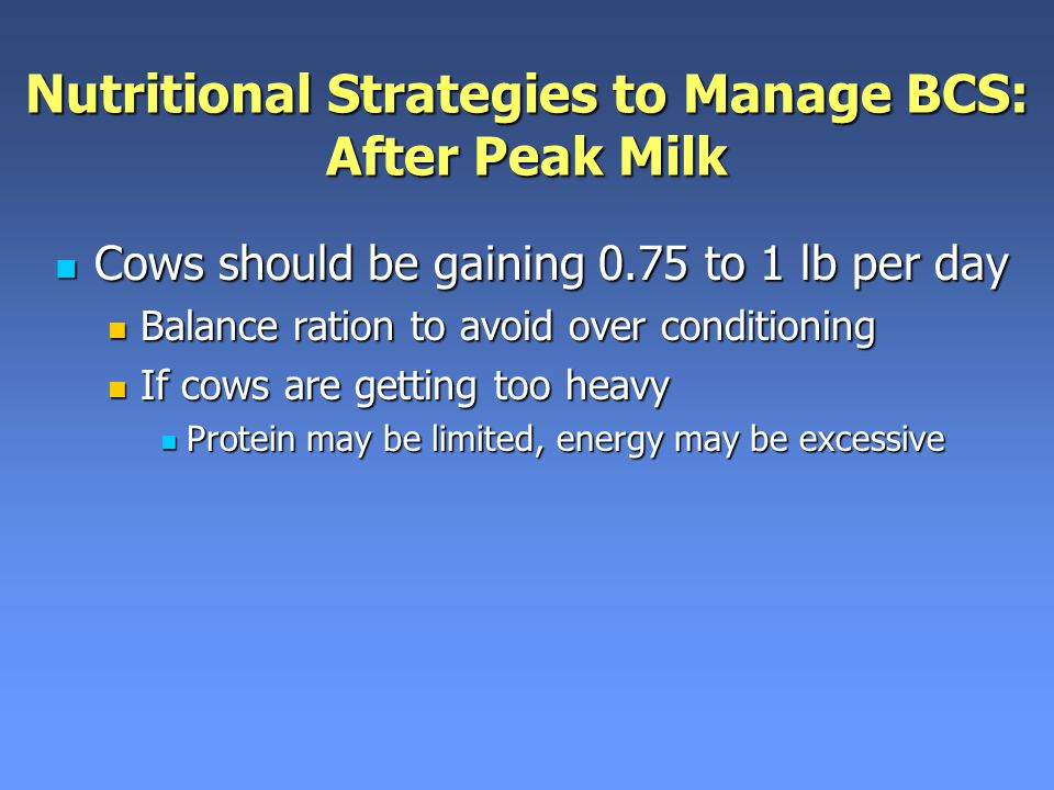 Nutritional Strategies to Manage BCS: After Peak Milk