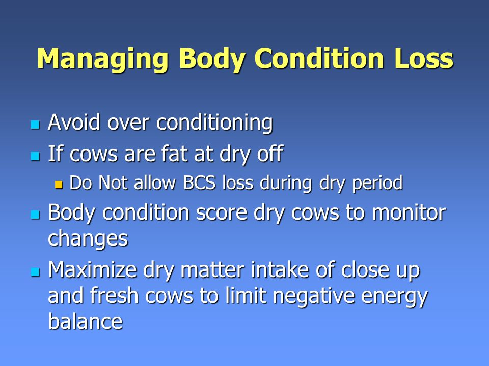 Managing Body Condition Loss