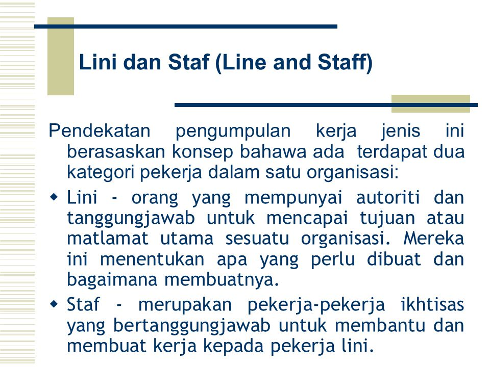 Lini dan Staf (Line and Staff)