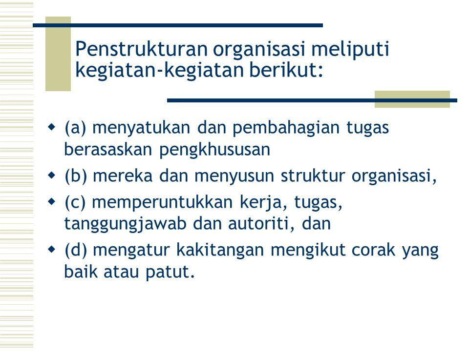 Penstrukturan organisasi meliputi kegiatan-kegiatan berikut: