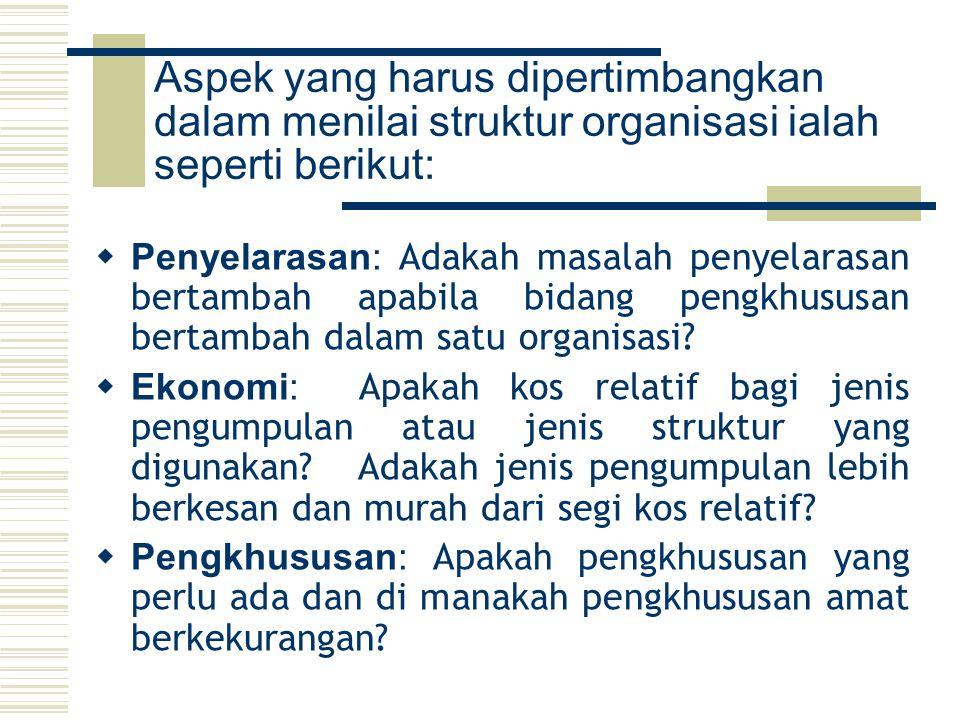 Aspek yang harus dipertimbangkan dalam menilai struktur organisasi ialah seperti berikut: