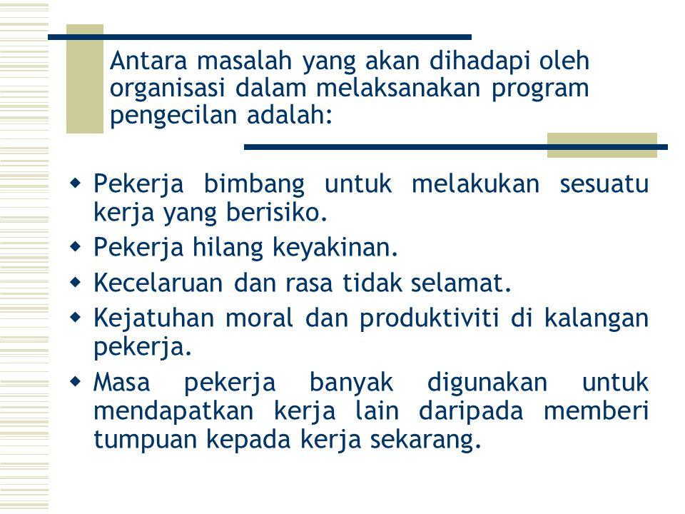 Antara masalah yang akan dihadapi oleh organisasi dalam melaksanakan program pengecilan adalah: