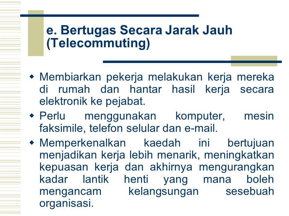 e. Bertugas Secara Jarak Jauh (Telecommuting)