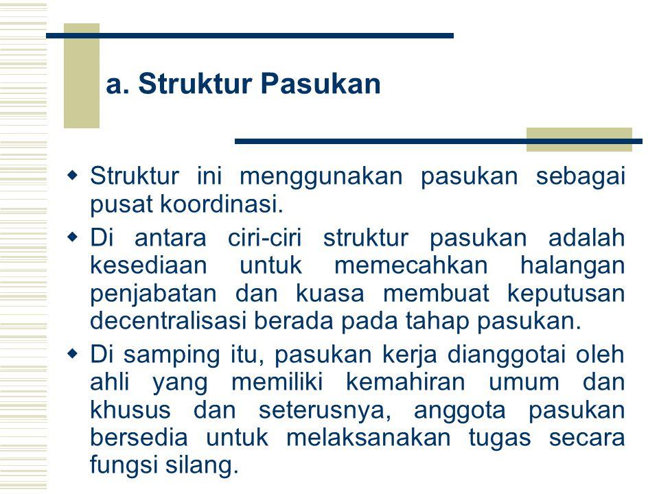 a. Struktur Pasukan Struktur ini menggunakan pasukan sebagai pusat koordinasi.