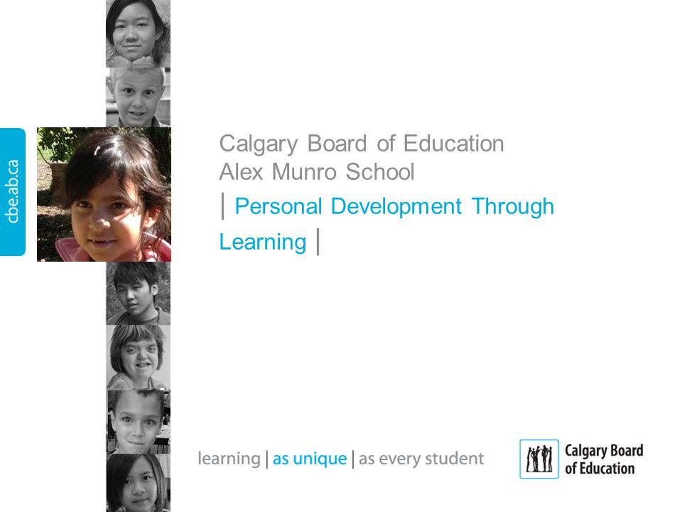 Calgary Board of Education Alex Munro School   Personal Development Through Learning  