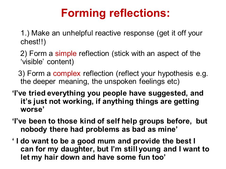 Forming reflections: 1.) Make an unhelpful reactive response (get it off your chest!!)