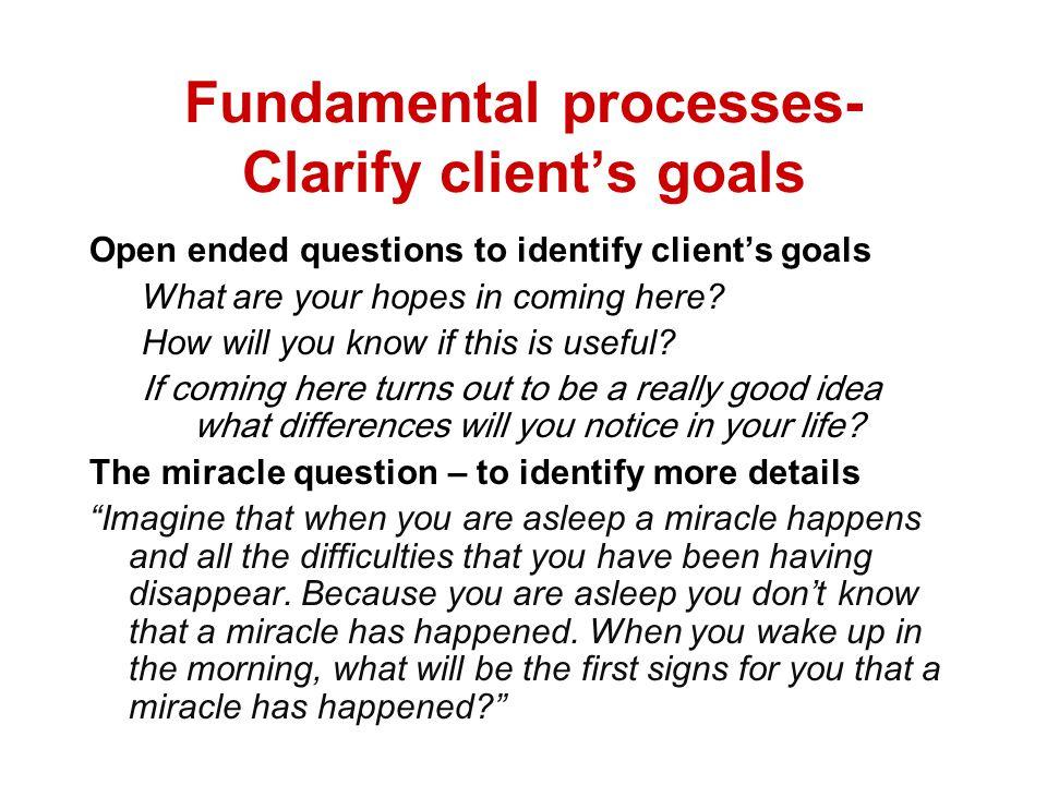 Fundamental processes- Clarify client's goals