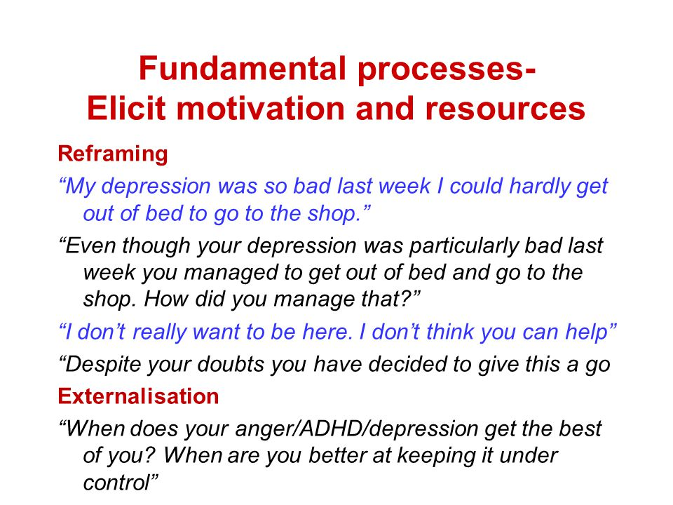 Fundamental processes- Elicit motivation and resources