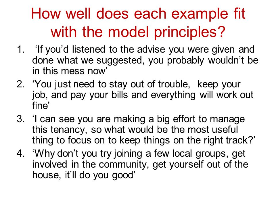 How well does each example fit with the model principles