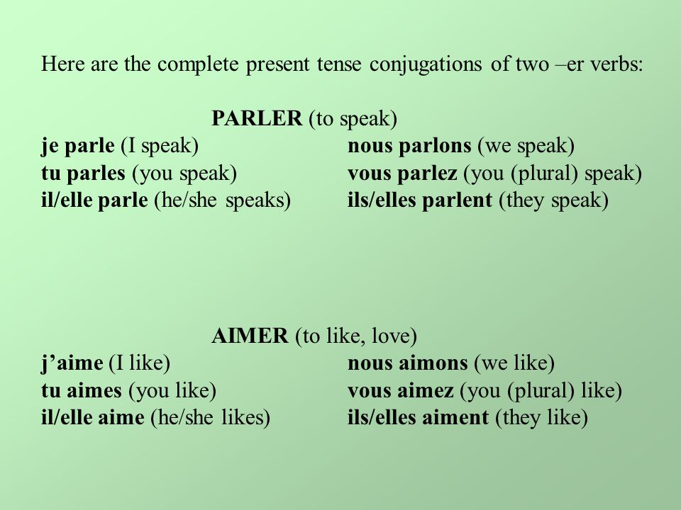 Here are the complete present tense conjugations of two –er verbs: