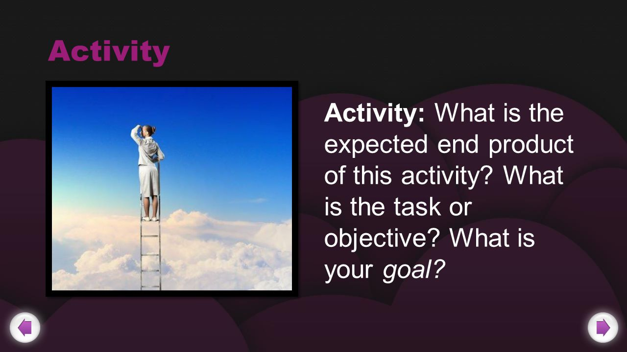Activity Activity: What is the expected end product of this activity.